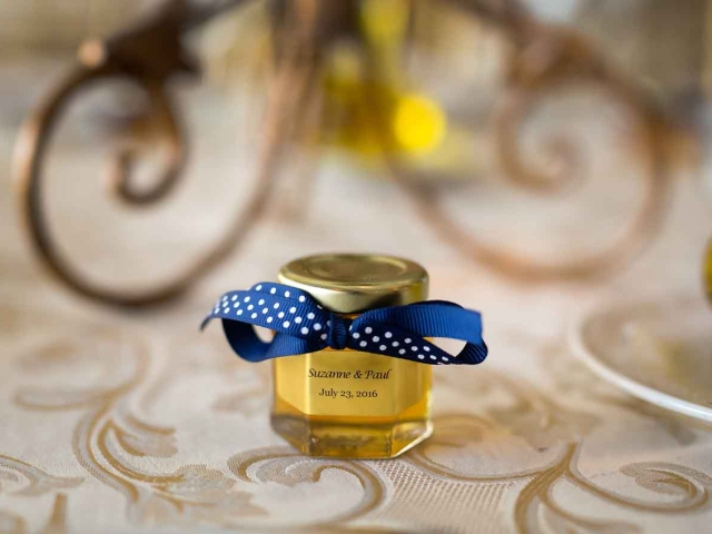 Blue ribbon with white dots Homemade DIY Honey Jar Wedding Favor Idea