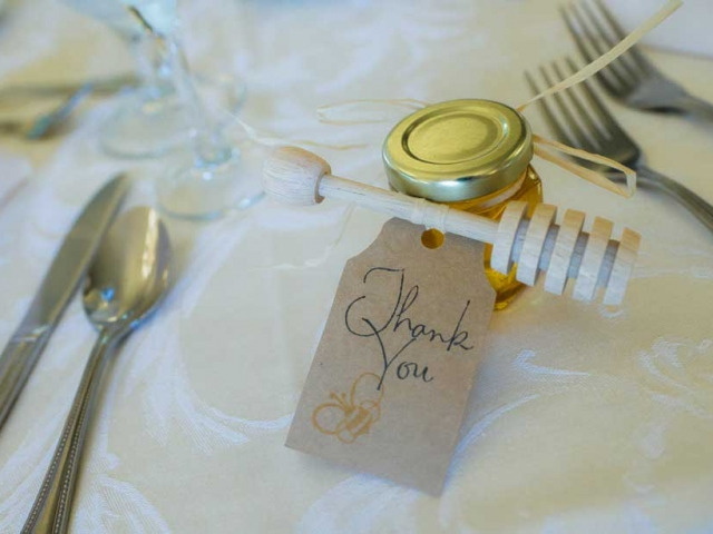 Wooden Dipper Homemade DIY Honey Jar Wedding Favor Idea