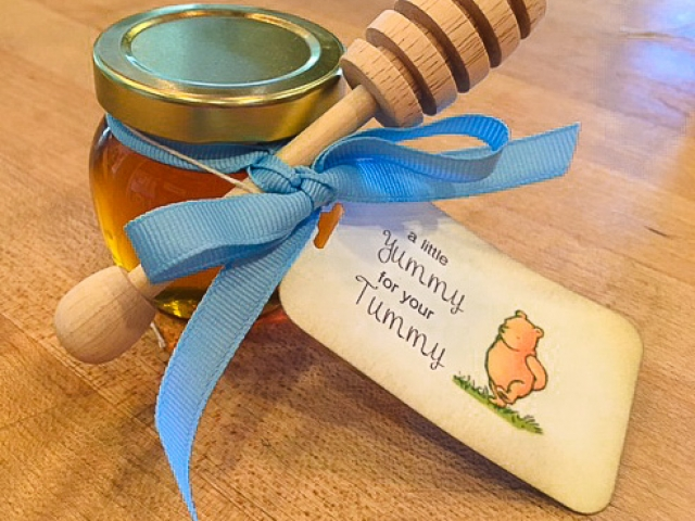 Blue ribbon tied dipper Homemade DIY Honey Jar Wedding Favor Idea