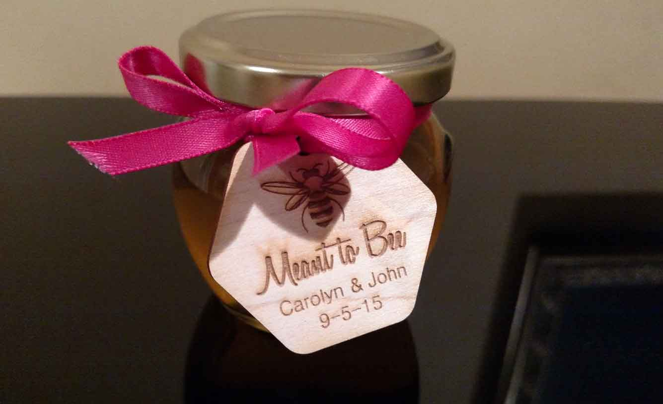 Custom wooden Tag Homemade DIY Honey Jar Wedding Favor Idea