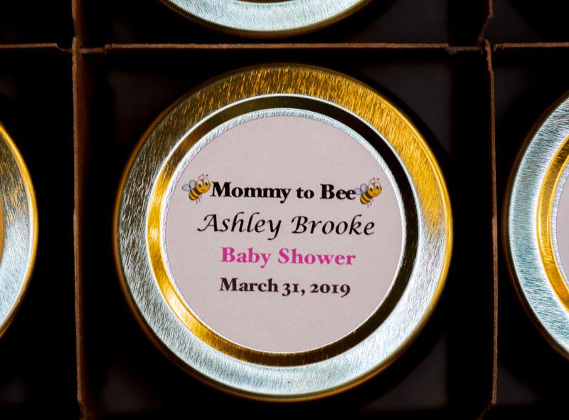 Unique Honey Pot Favor with personalized round label