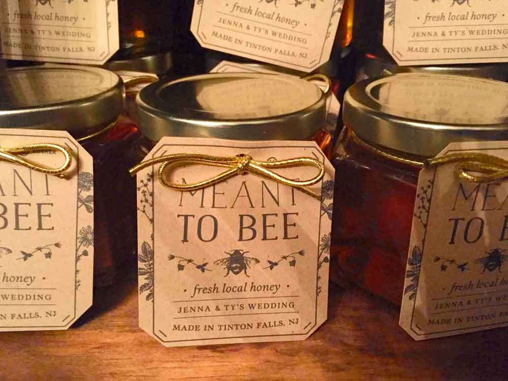 Old fashioned printed Tag Homemade DIY Honey Jar Wedding Favor Idea