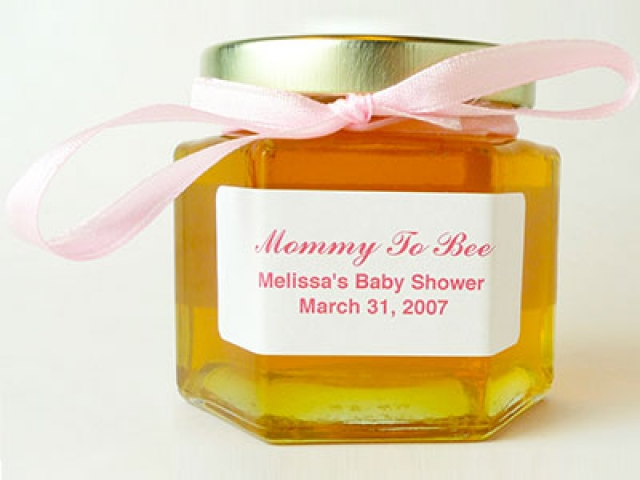 Mommy to Bee personalized label on a Honey Jar Party Favor