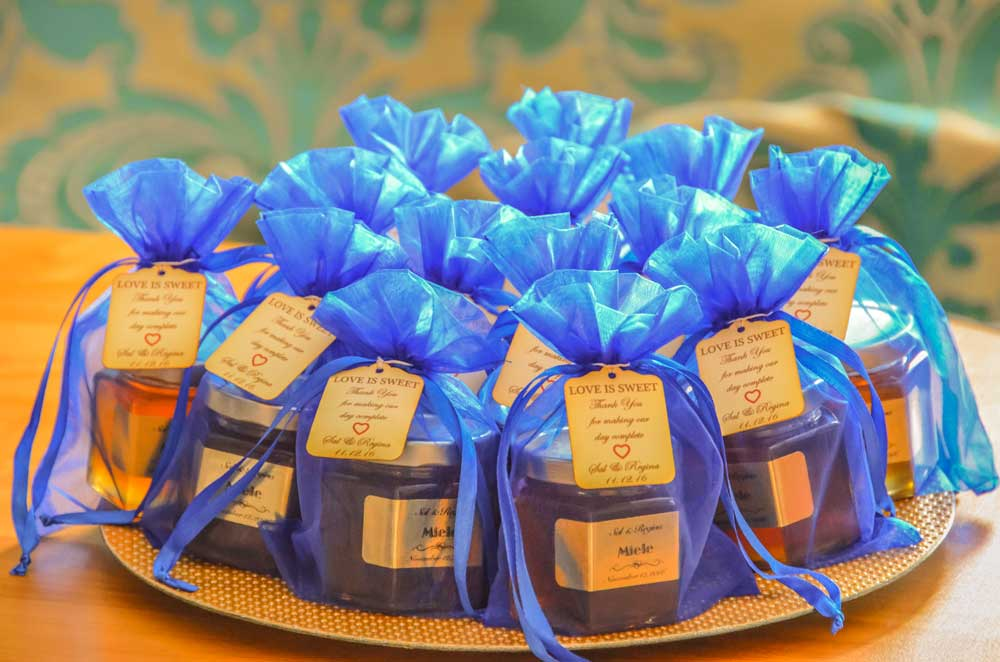 Blue organza bag Homemade DIY Honey Jar Wedding Favor Idea