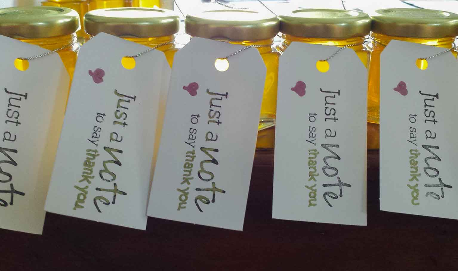Long rectangle tags Homemade DIY Honey Jar Wedding Favor Idea