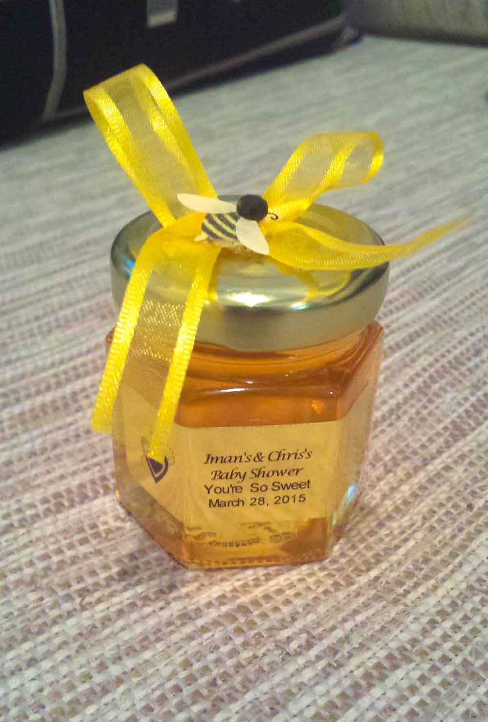 Ribbon with bee on lid Homemade DIY Honey Jar Wedding Favor Idea