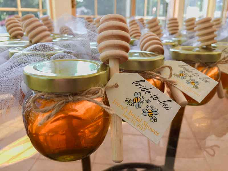 Wooden  Dipper tied Homemade DIY Honey Jar Wedding Favor Idea