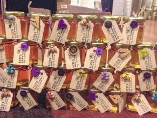 Tags tied with wooden buttons Homemade DIY Honey Jar Wedding Favor Idea