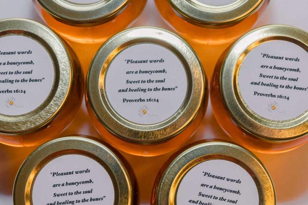 Unique Honey Pot Favor personalized round label