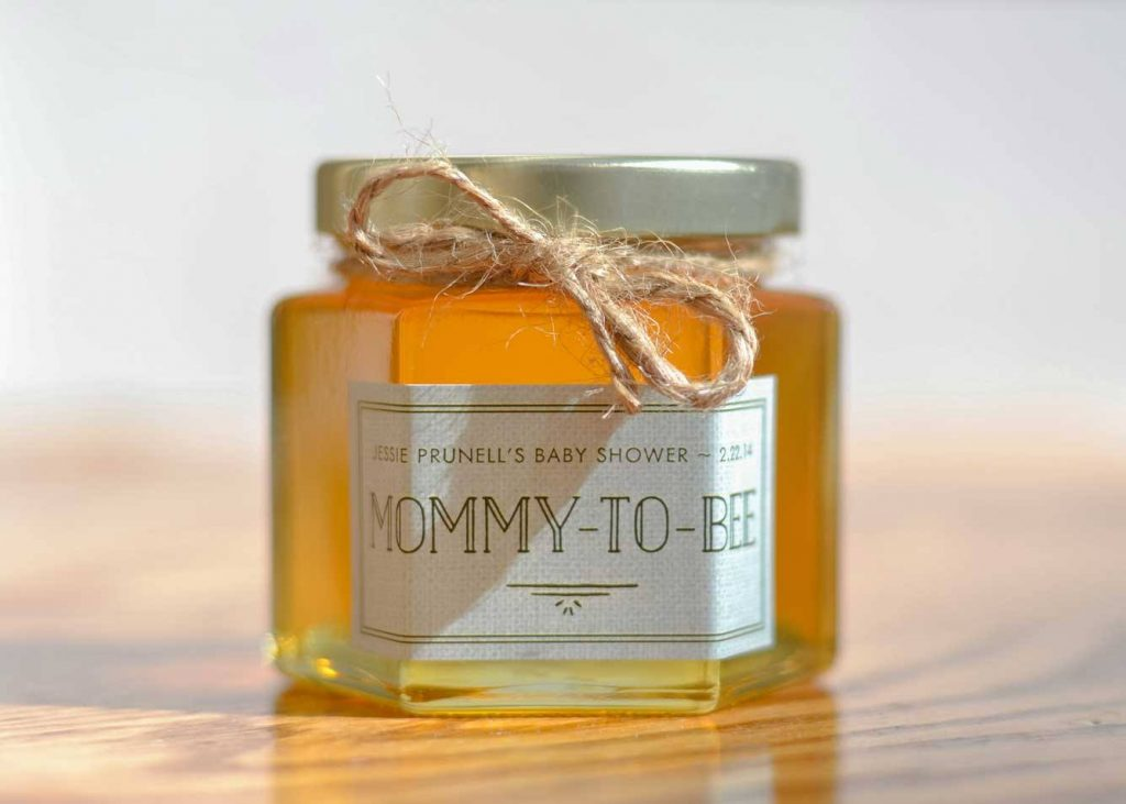 a Mommy to Bee label is a honey baby shower favors diy idea