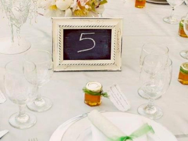 reception table setting Homemade DIY Honey Jar Wedding Favor Idea