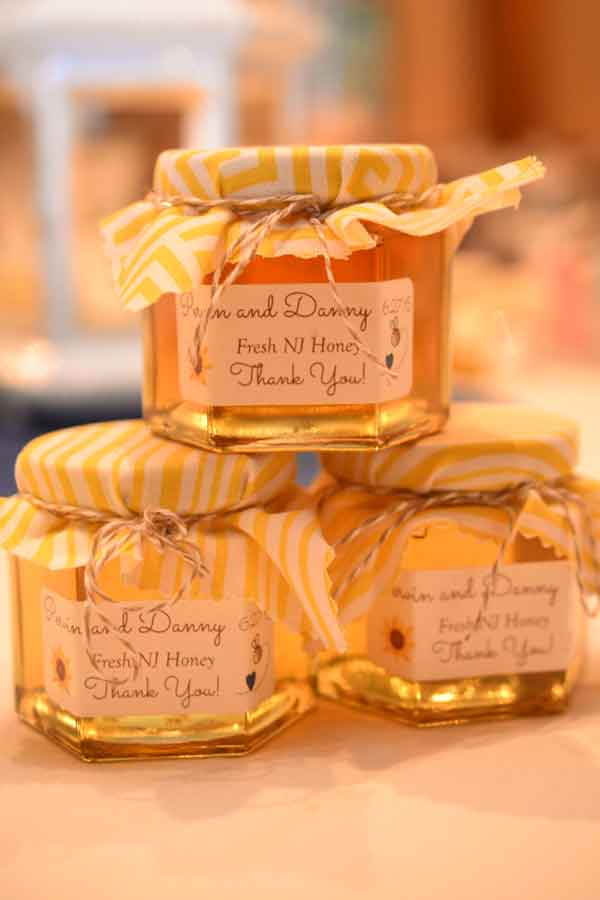 Gold and white striped fabric lid cover Homemade DIY Honey Jar Wedding Favor Idea