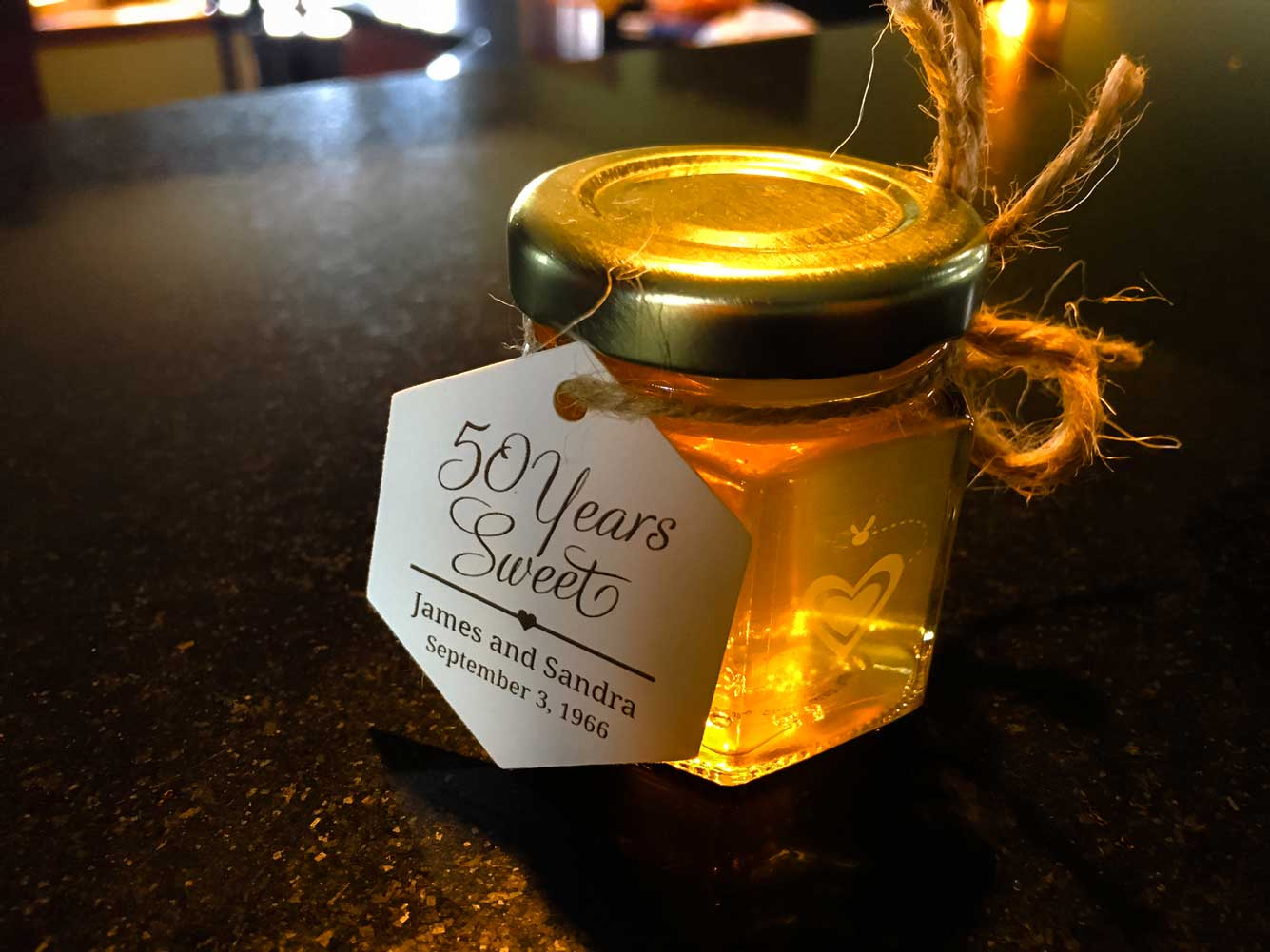 Custom tag Homemade DIY Honey Jar Wedding Favor Idea