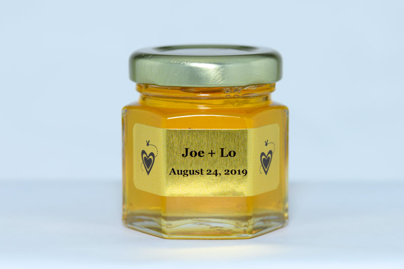 Unique Honey Jar Wedding Favor with personalized  label