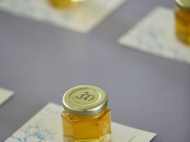 Clear round lid label Homemade DIY Honey Jar Wedding Favor Idea