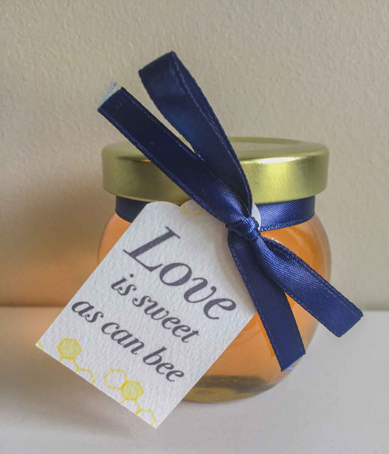 Bold ribbon tied custom tag Homemade DIY Honey Jar Wedding Favor Idea