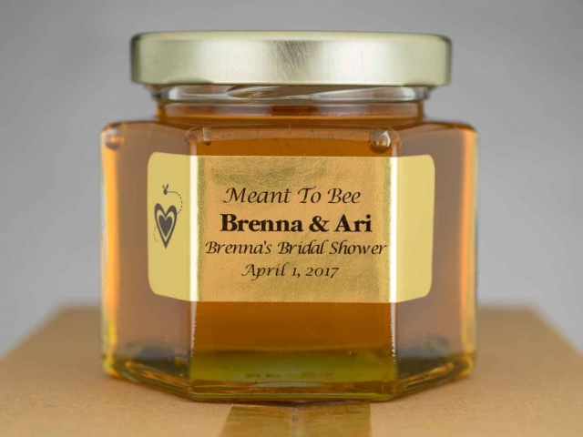 custom large front gold label Homemade DIY Honey Jar Wedding Favor Idea