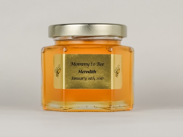 Large gold label with bees Homemade DIY Honey Jar Wedding Favor Idea