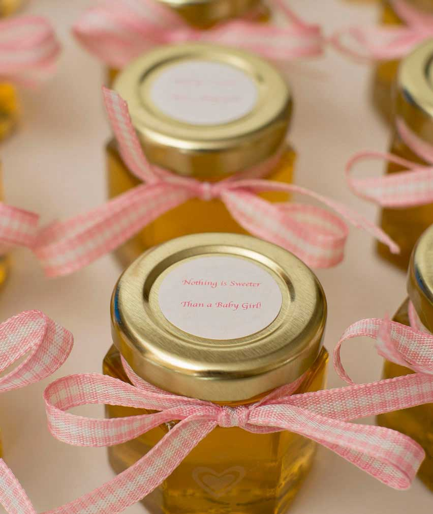 ... Baby Shower Favor With Custom Front Label 6oz Honey Hex Jar 2oz Hex Jar  With Custom Round Label