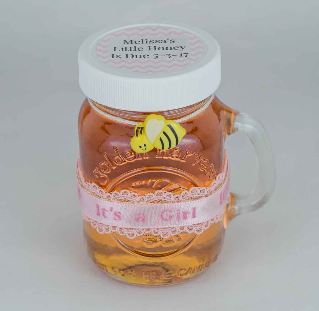 Tied bee and crochet tied label Homemade DIY Honey Jar Wedding Favor Idea