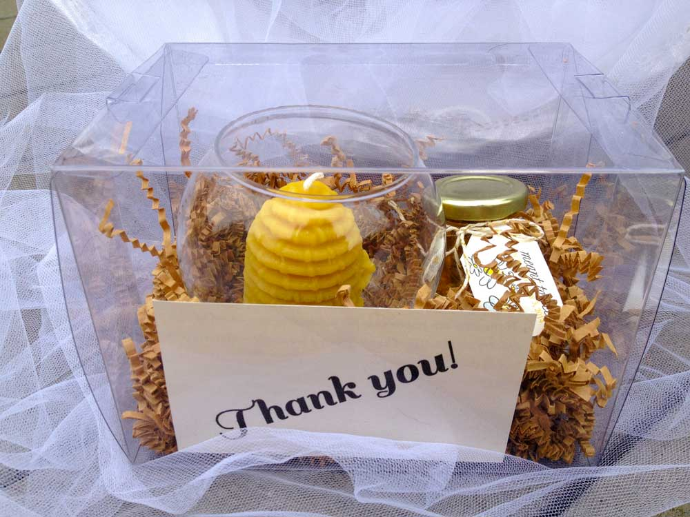 Beeswax Skep candle Homemade DIY Honey Jar Wedding Favor Idea