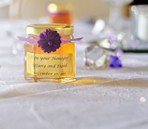 Dried Flowe with Ribbon Homemade DIY Honey Jar Wedding Favor Idea