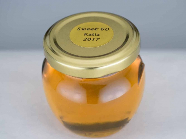Birthday personalized label on a Honey Jar Party Favor