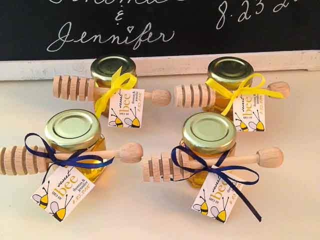 Custom tag with tied dipper Homemade DIY Honey Jar Wedding Favor Idea