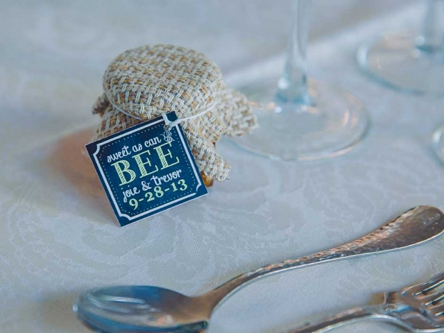 Fabric covered lid Homemade DIY Honey Jar Wedding Favor Idea