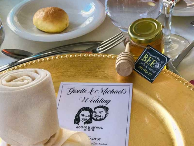 Table setting Homemade DIY Honey Jar Wedding Favor Idea