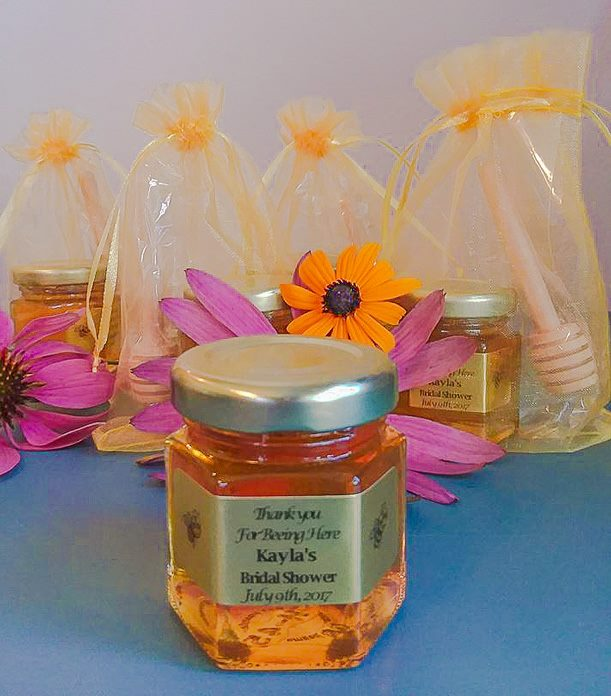 Orange colored organza bag Homemade DIY Honey Jar Wedding Favor Idea