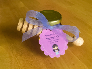 Wooden dipper with scalloped tag Homemade DIY Honey Jar Wedding Favor Idea