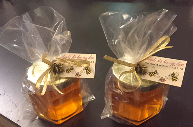 Wrapped in clear bag with bee pendant Homemade DIY Honey Jar Wedding Favor Idea
