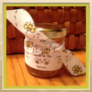 Flying bee printed ribbon Homemade DIY Honey Jar Wedding Favor Idea