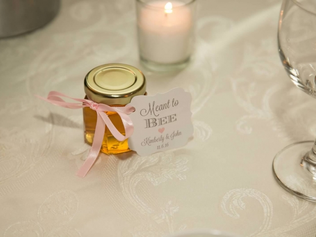 Personalized tag tied with pink ribbon Homemade DIY Honey Jar Wedding Favor Idea