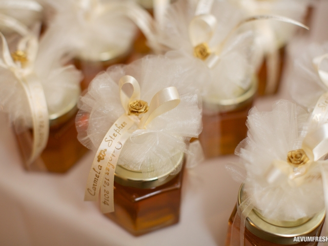 Custom printed ribbon Homemade DIY Honey Jar Wedding Favor Idea